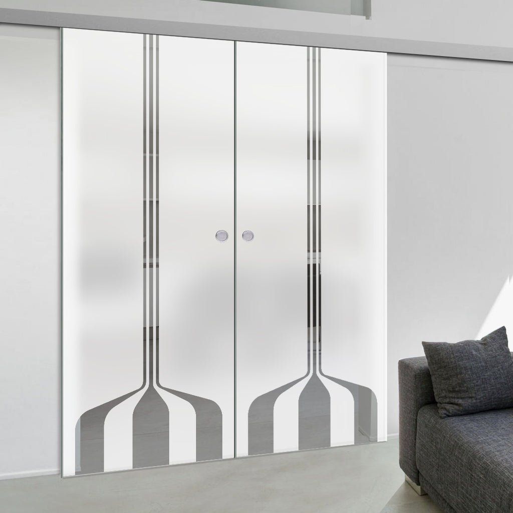 Double Glass Sliding Door - Crombie 8mm Obscure Glass - Clear Printed Design - Planeo 60 Pro Kit