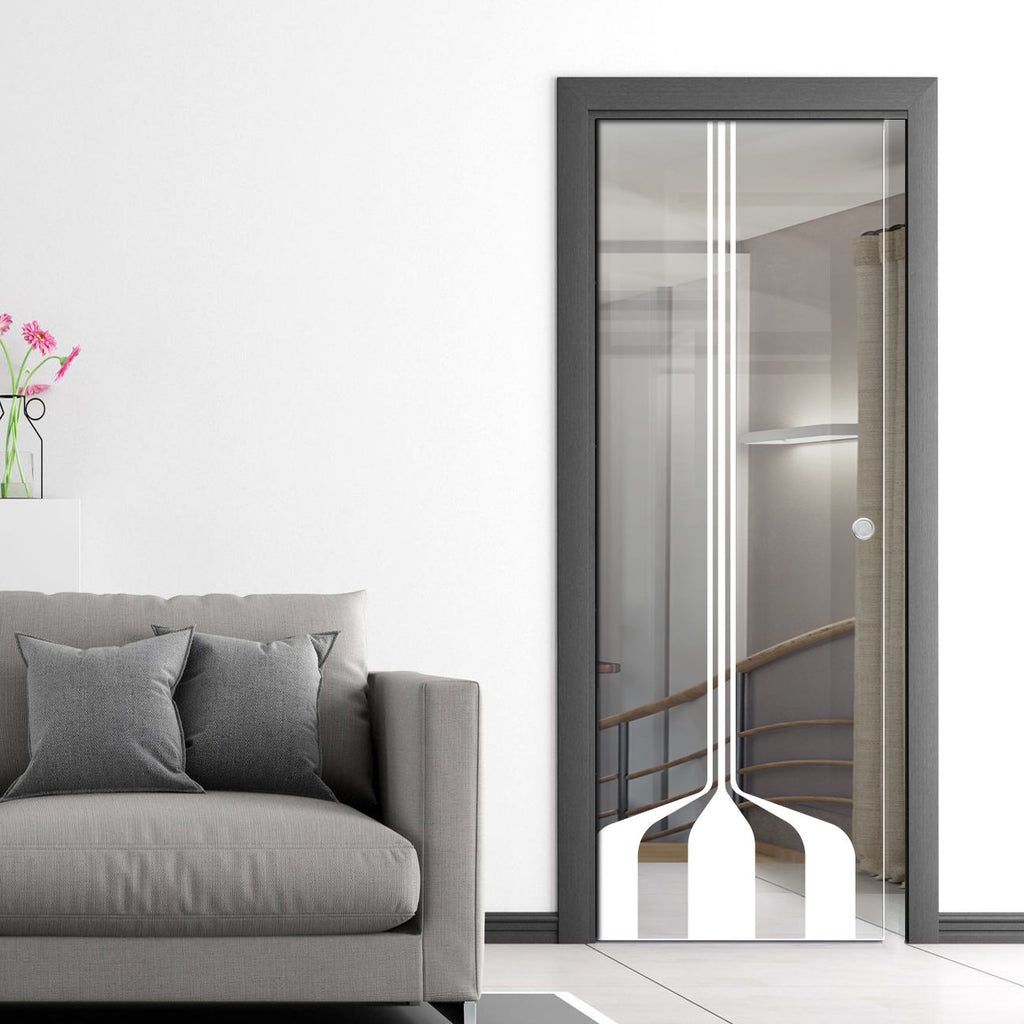 Crombie 8mm Clear Glass - Obscure Printed Design - Single Evokit Glass Pocket Door