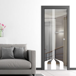 Image: Crombie 8mm Clear Glass - Obscure Printed Design - Single Evokit Glass Pocket Door