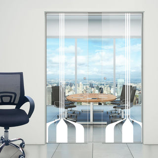 Image: Crombie 8mm Clear Glass - Obscure Printed Design - Double Absolute Pocket Door