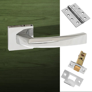 Image: Crystal Forme Designer Fire Lever on Minimal Square Rose - Polished Chrome Handle Pack