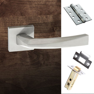 Image: Crystal Forme Designer Fire Lever on Minimal Square Rose - Satin Chrome Handle Pack