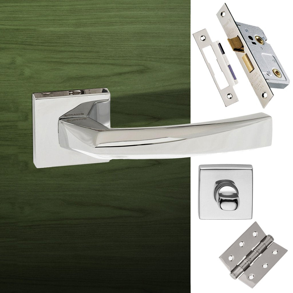 Crystal Forme Designer Bathroom Lever on Minimal Square Rose - Polished Chrome Handle Pack