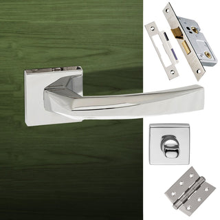 Image: Crystal Forme Designer Bathroom Lever on Minimal Square Rose - Polished Chrome Handle Pack