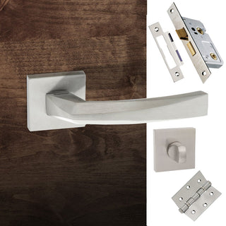 Image: Crystal Forme Designer Bathroom Lever on Minimal Square Rose - Satin Chrome Handle Pack