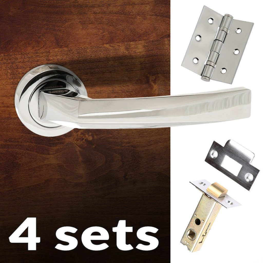 Four Pack Crystal Forme Designer Lever on Minimal Square Rose - Polished Chrome Handle