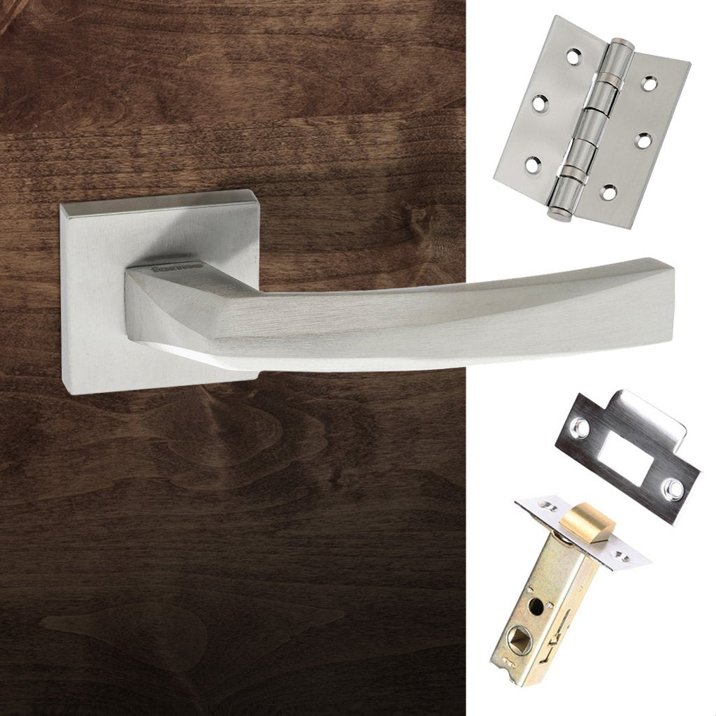 Crystal Forme Designer Lever on Minimal Square Rose - Satin Chrome Handle Pack