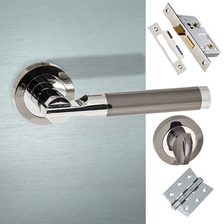 Image: Dakota Status Bathroom Lever on Round Rose - Black Nickel -  Polished Chrome Handle Pack