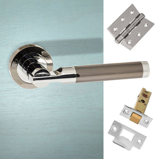 Image: Dakota Status Lever on Round Rose - Black Nickel -  Polished Chrome Handle Pack