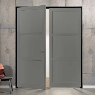 Image: Bespoke Industrial Style 3 Panel Door Pair WK6355 - 95mm - 4 Prefinished Colour Choices