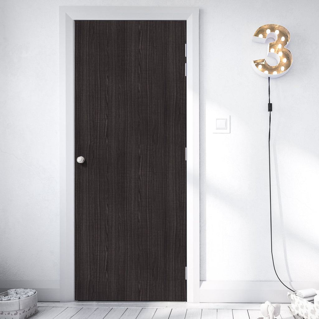 Bespoke Door - Flush American Dark Grey Ash Veneer - Prefinished