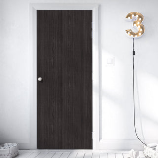 Image: Bespoke Door - Flush American Dark Grey Ash Veneer - Prefinished