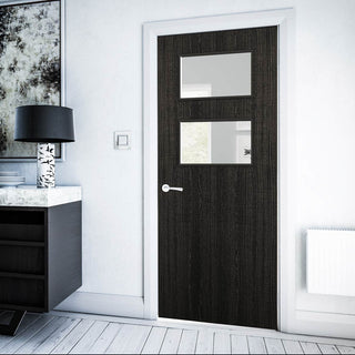 Image: Bespoke Fire Door - Flush American Dark Grey Ash Veneer - 30 Minute Fire Rated - Clear Glass - 02 - Prefinished