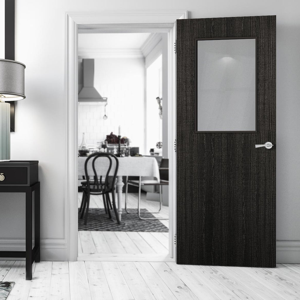 Bespoke Fire Door - Flush American Dark Grey Ash Veneer - 30 Minute Fire Rated - Clear Glass - 01 - Prefinished