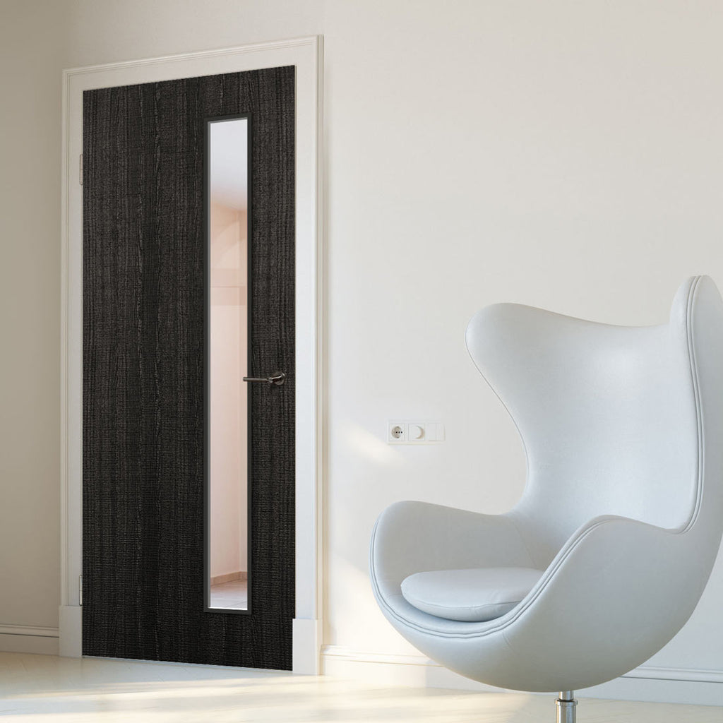 Bespoke Fire Door - Flush American Dark Grey Ash Veneer - 30 Minute Fire Rated - Clear Glass - 06 - Prefinished