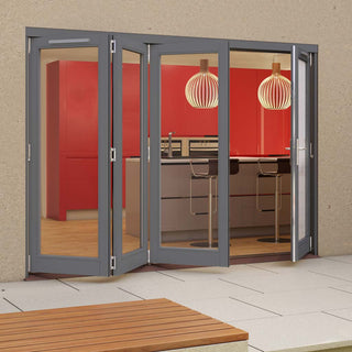 Image: Jeld-Wen Darwin Dusky Grey Painted Hardwood Fold and Slide Patio Doorset, GDAR303L1R, 3 Left - 1 Right, 2994mm Wide