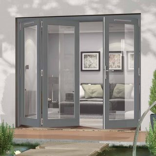 Image: Jeld-Wen Darwin Dusky Grey Painted Hardwood Fold and Slide Patio Doorset, GDAR242L1R, 2 Left - 1 Right, 2394mm Wide