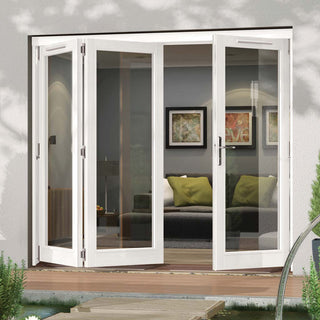 Image: Jeld-Wen Darwin White Painted Hardwood Fold and Slide Patio Doorset, WDAR212L1R, 2 Left - 1 Right, 2094mm Wide