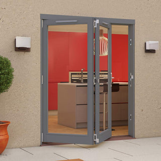 Image: Jeld-Wen Darwin Dusky Grey Painted Hardwood Fold and Slide Patio Doorset, GDAR182L, 2 Left, 1794mm Wide