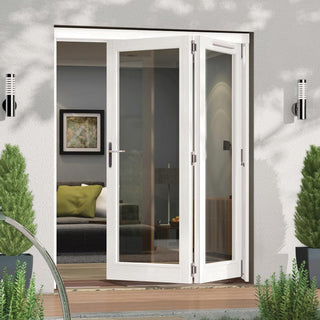 Image: Jeld-Wen Darwin White Painted Hardwood Fold and Slide Patio Doorset, WDAR182R, 2 Right, 1794mm Wide