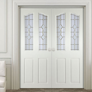 Image: Swept Top Internal PVC Door Pair - Brechin Andromeda Bevel Glass and Leadwork
