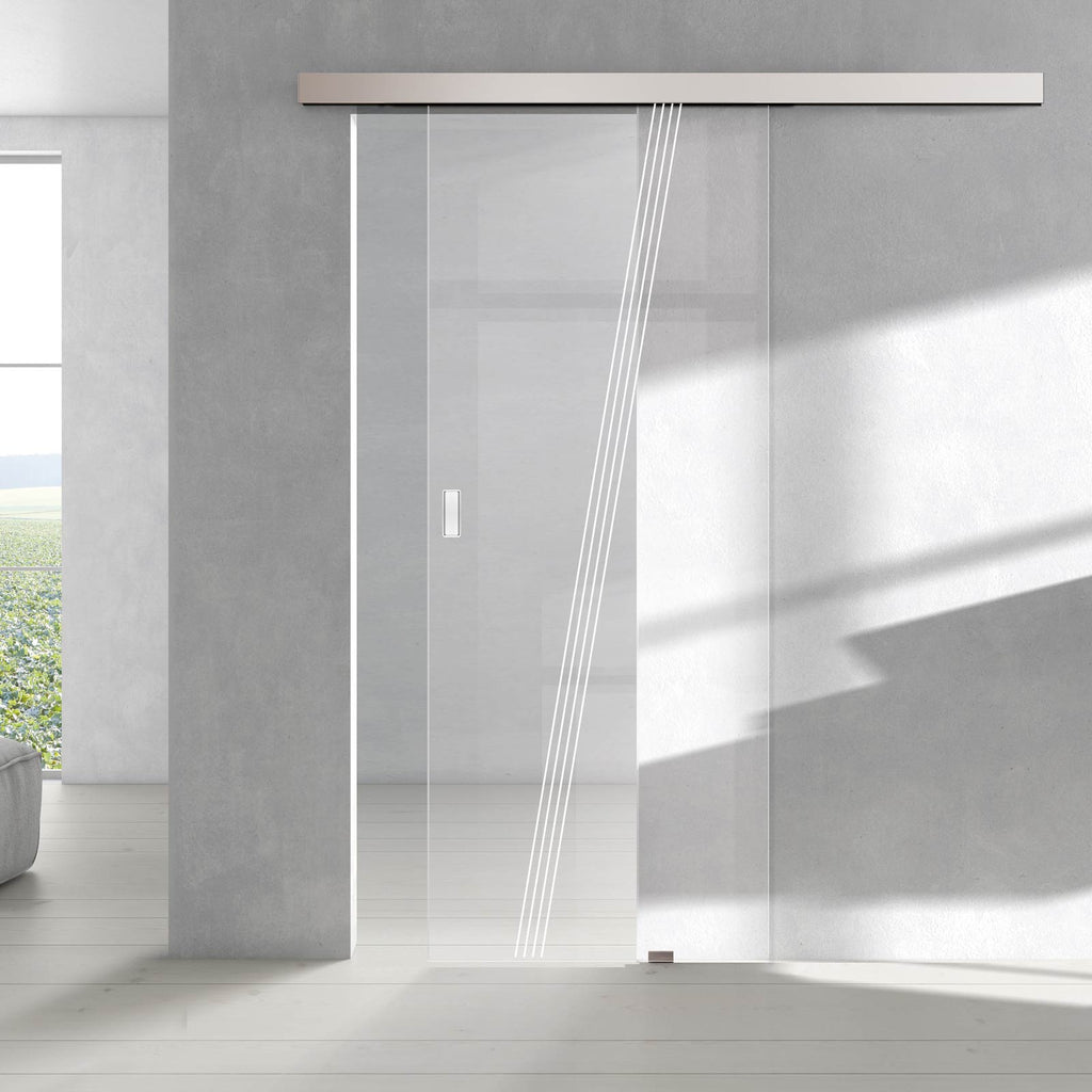 Single Glass Sliding Door - Dean 8mm Clear Glass - Obscure Printed Design - Planeo 60 Pro Kit