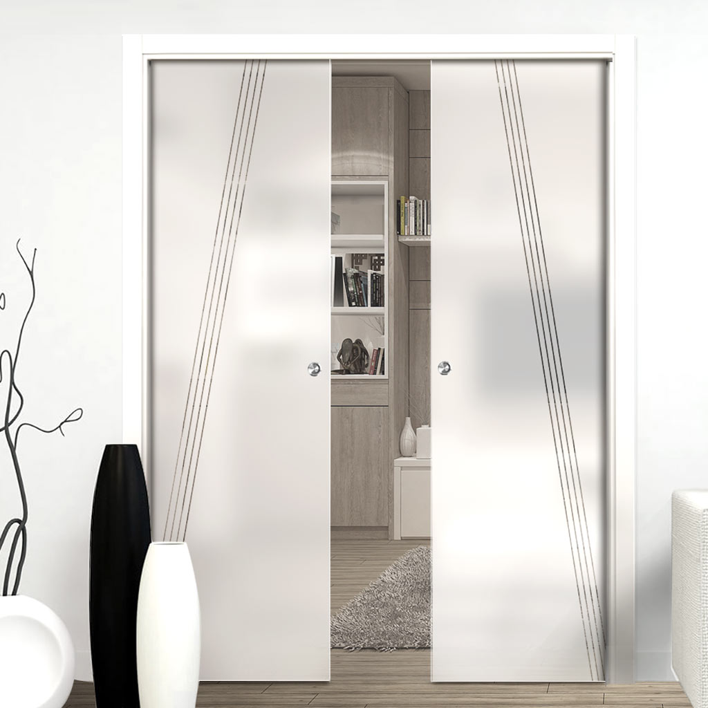 Dean 8mm Obscure Glass - Clear Printed Design - Double Evokit Pocket Door