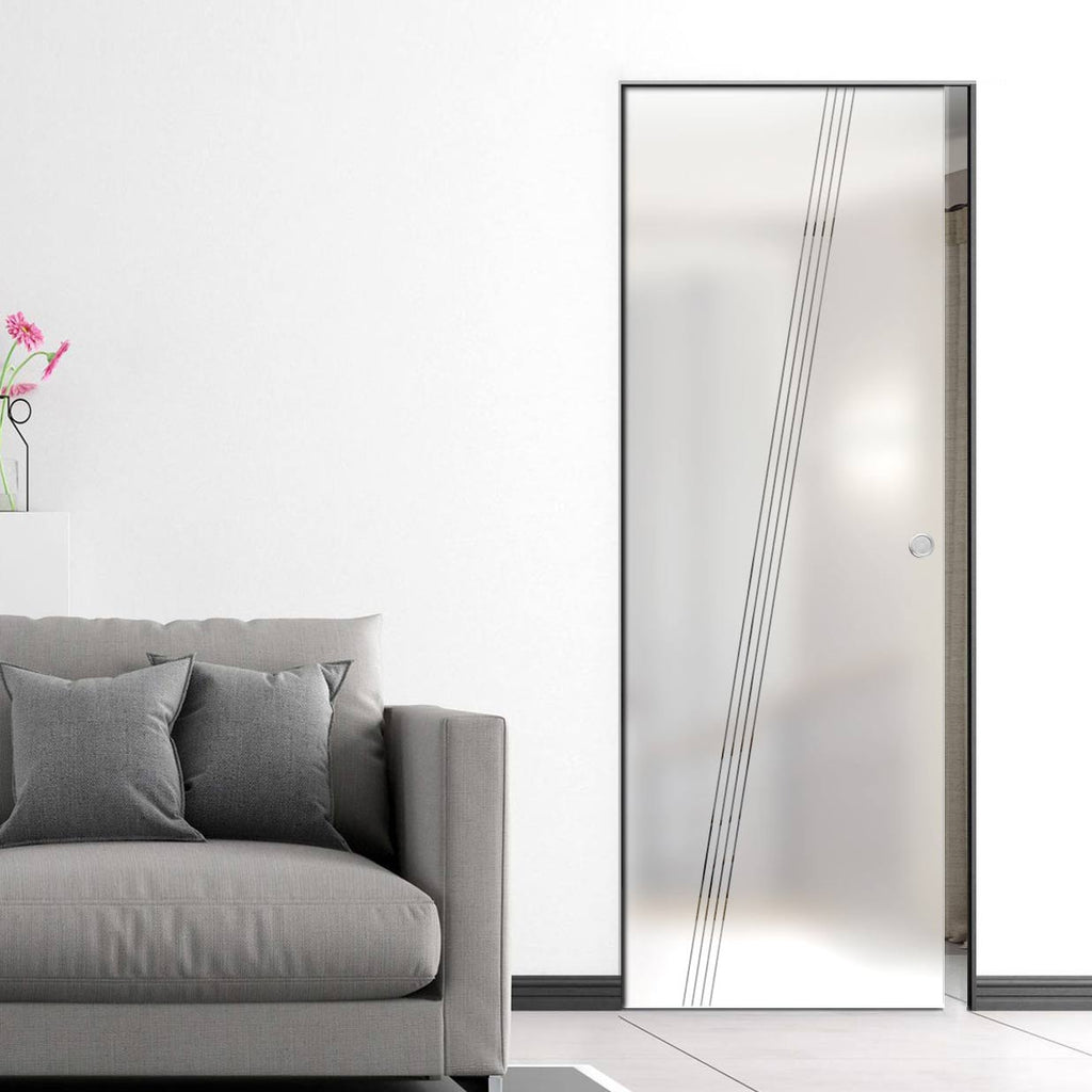 Dean 8mm Obscure Glass - Clear Printed Design - Single Absolute Pocket Door
