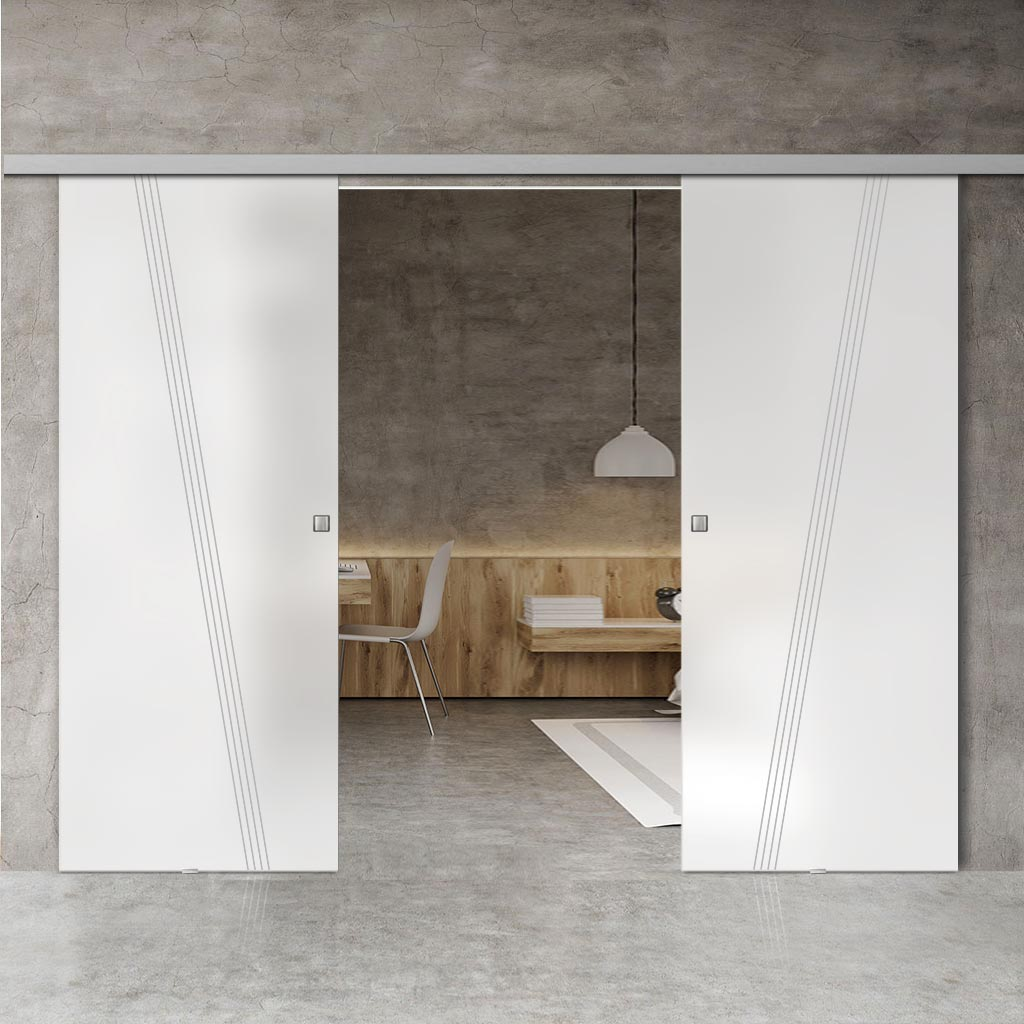 Double Glass Sliding Door - Dean 8mm Obscure Glass - Obscure Printed Design - Planeo 60 Pro Kit