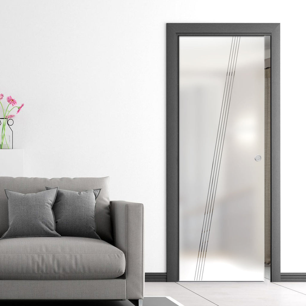 Dean 8mm Obscure Glass - Clear Printed Design - Single Evokit Glass Pocket Door