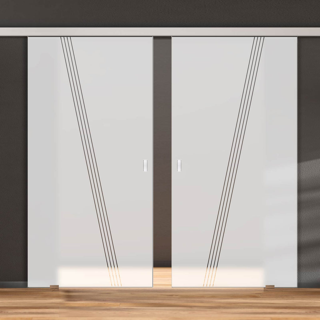 Double Glass Sliding Door - Dean 8mm Obscure Glass - Clear Printed Design - Planeo 60 Pro Kit