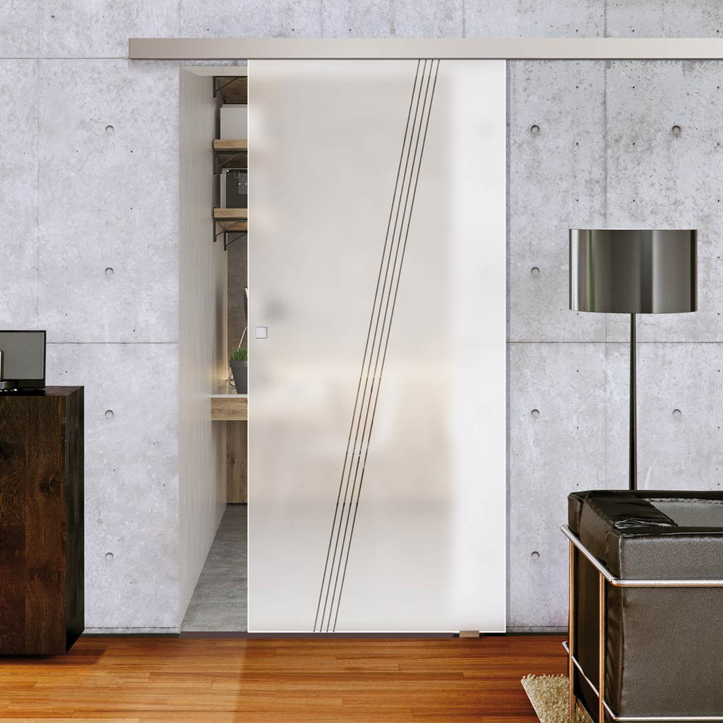 Single Glass Sliding Door - Dean 8mm Obscure Glass - Clear Printed Design - Planeo 60 Pro Kit