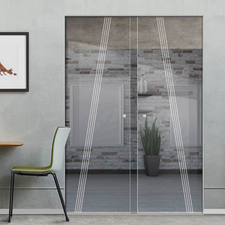 Image: Dean 8mm Clear Glass - Obscure Printed Design - Double Absolute Pocket Door