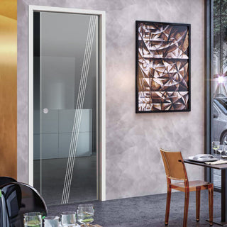 Image: Dean 8mm Clear Glass - Obscure Printed Design - Single Evokit Glass Pocket Door