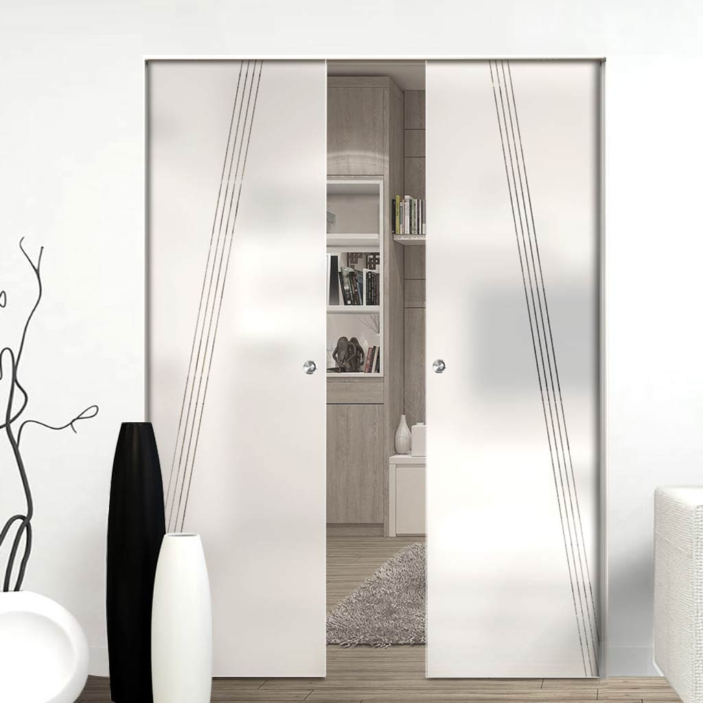 Dean 8mm Obscure Glass - Clear Printed Design - Double Absolute Pocket Door