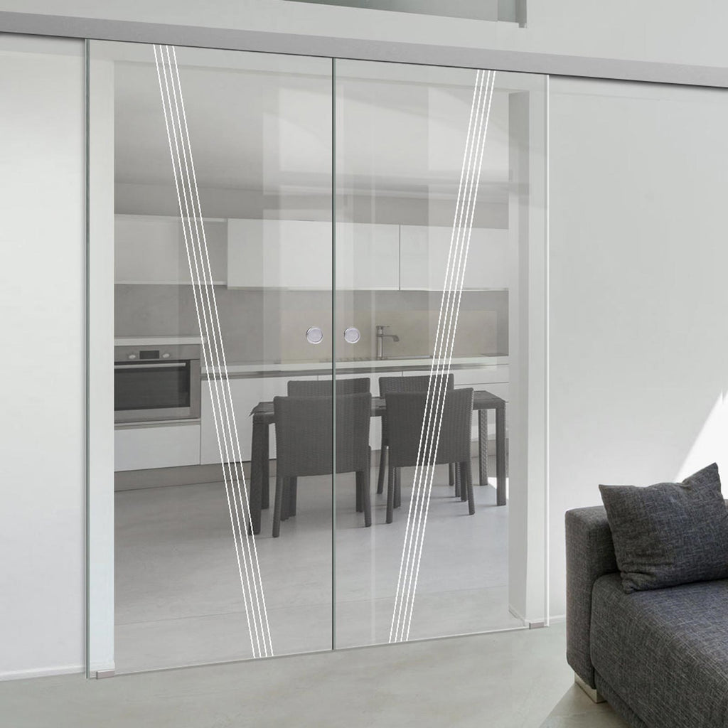 Double Glass Sliding Door - Dean 8mm Clear Glass - Obscure Printed Design - Planeo 60 Pro Kit