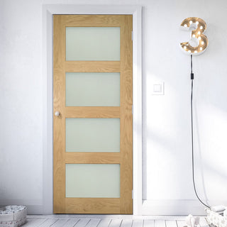 Image: Coventry Oak Door - Frosted Glass - Prefinished