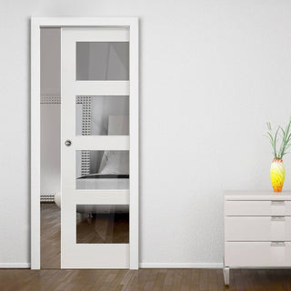 Image: Coventry Shaker Single Evokit Pocket Door - Clear Glass - White Primed