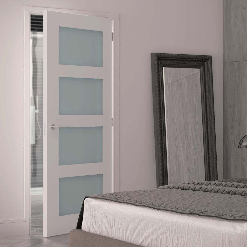 Deanta Coventry White Primed Shaker Door With Frosted Glass