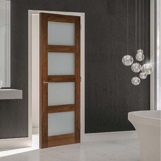 Image: Coventry Prefinished Walnut Shaker Style Door - Frosted Glass