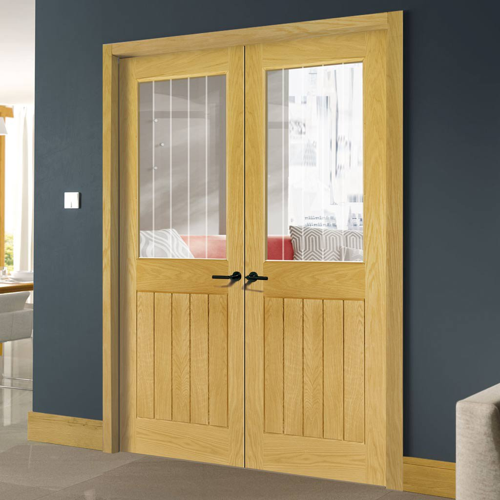 Ely 1 L Glazed Door Pair - Prefinished