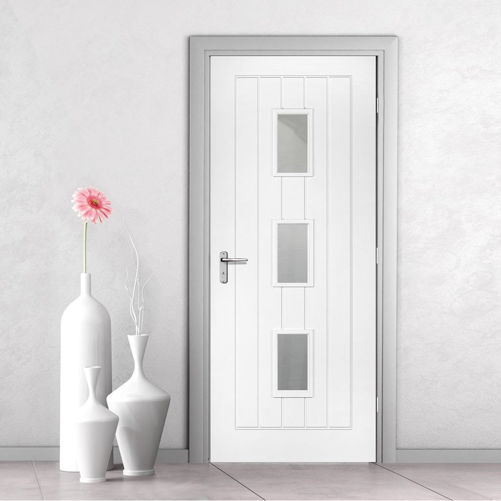 Ely White Primed Fire Door - Clear Glass - 1/2 Hour Fire Rated