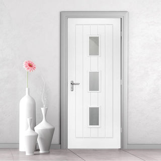 Image: Ely White Primed Fire Door - Clear Glass - 1/2 Hour Fire Rated