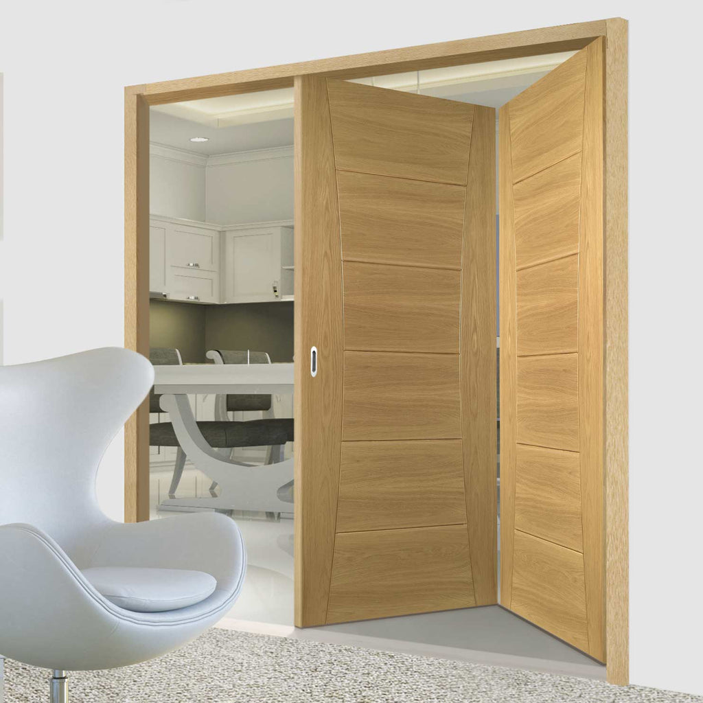 Two Folding Doors & Frame Kit - Pamplona Oak Flush 2+0 - Prefinished