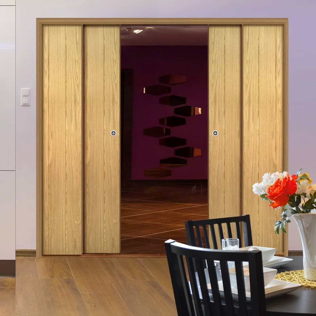 Galway American Oak Veneer Staffetta Quad Telescopic Pocket Doors Unfinished