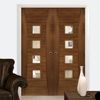 Image: Pamplona Walnut Prefinished Door Pair - Clear Glass