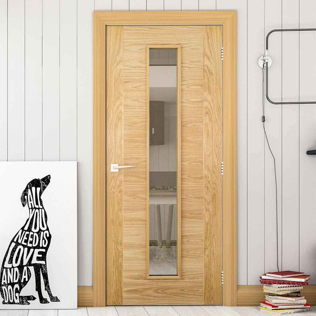 Seville Oak Fire Door - Clear Glass - 1/2 Hour Fire Rated - Prefinished