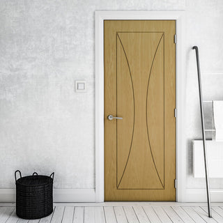 Image: Sorrento Oak Flush Door - Prefinished from Deanta UK