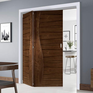 Image: Thrufold Contemporary Cadiz Walnut 2+0 Folding Door - Prefinished