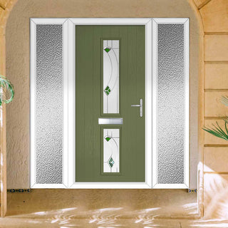 Image: Cottage Style Debonaire 2 Composite Door Set with Double Side Screen - Central Kupang Green Glass - Shown in Reed Green